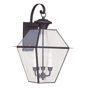 Westover Bronze Three-Light Outdoor Wall Lantern
