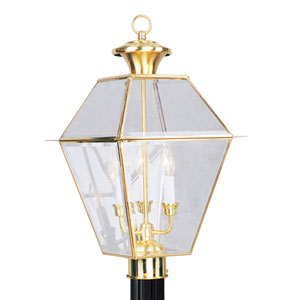 Westover Polished Brass Three-Light Outdoor Fixture