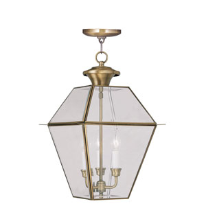 Westover Antique Brass Three-Light Outdoor Chain Hang
