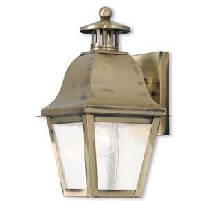 Amwell Antique Brass 7-Inch One-Light Outdoor Wall Lantern