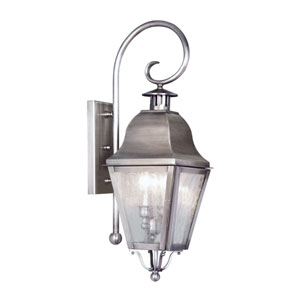Amwell Vintage Pewter Two-Light Outdoor Fixture