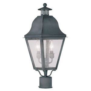 Amwell Charcoal Two-Light Outdoor Post Head