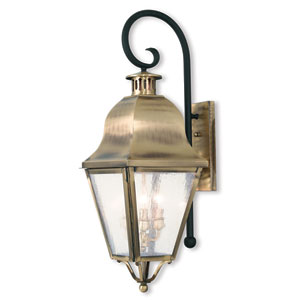 Amwell Antique Brass 10.5-Inch Three-Light Outdoor Wall Lantern