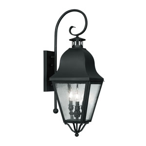 Amwell Black Three-Light Outdoor Fixture