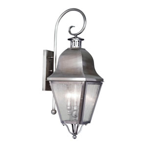 Amwell Vintage Pewter Three-Light Outdoor Fixture