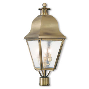 Amwell Antique Brass 10.5-Inch Three-Light Post-Top Lantern with Seeded Glass