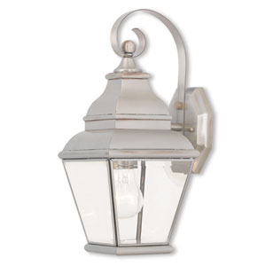 Exeter Brushed Nickel 6.5-Inch One-Light Outdoor Wall Lantern