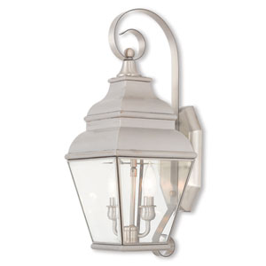 Exeter Brushed Nickel 8-Inch Two-Light Outdoor Wall Lantern