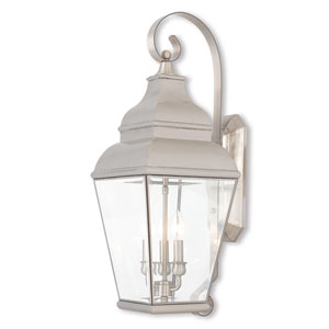 Exeter Brushed Nickel 10-Inch Three-Light Outdoor Wall Lantern