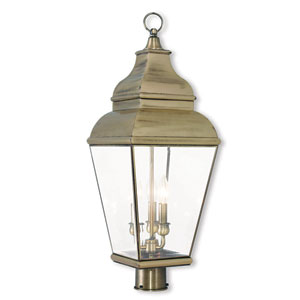 Exeter Antique Brass 10-Inch Three-Light Post-Top Lantern with Clear Beveled Glass
