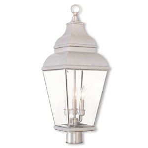 Exeter Brushed Nickel 10-Inch Three-Light Post-Top Lantern with Clear Beveled Glass