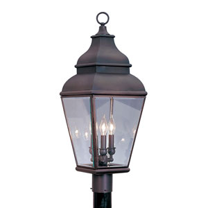 Exeter Bronze Three-Light Outdoor Fixture