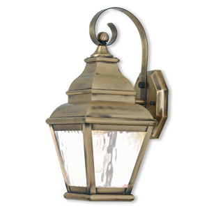 Exeter Antique Brass 6.5-Inch One-Light Outdoor Wall Lantern with Clear Water Glass