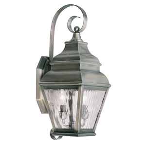 Exeter Vintage Pewter Two-Light Outdoor Wall Lantern