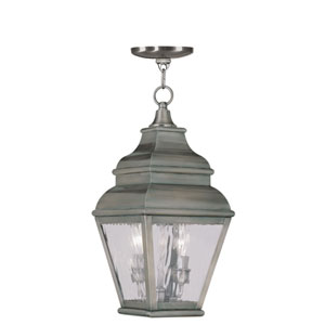 Exeter Vintage Pewter Two-Light Outdoor Pendant