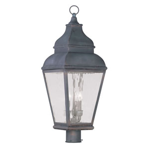 Exeter Charcoal Three-Light Outdoor Post Head