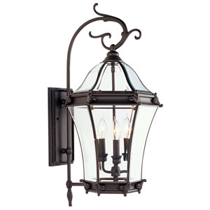 Fleur de Lis Bronze Three-Light Outdoor Fixture