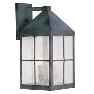 Brighton Hammered Charcoal Finish Three-Light Outdoor Wall Lantern