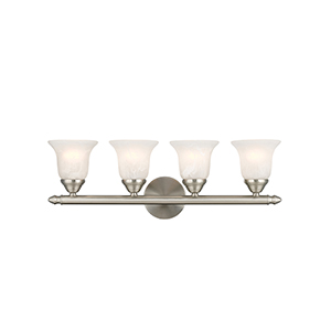Home Basics Four-Light Brushed Nickel Bath Fixture