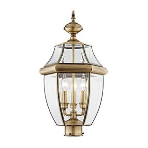 Monterey Antique Brass Three-Light Outdoor Fixture