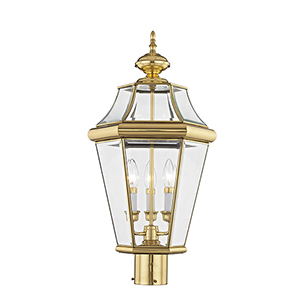 Georgetown Polished Brass Three-Light Outdoor Fixture