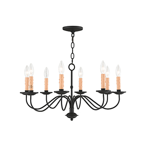 Heritage Black Eight-Light Chandelier