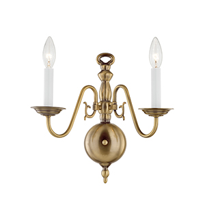 Williamsburgh Antique Brass Two-Light Wall Sconce