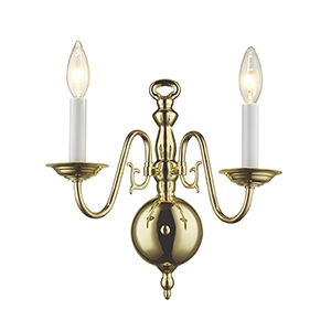 Williamsburgh Polished Brass Two-Light Wall Sconce