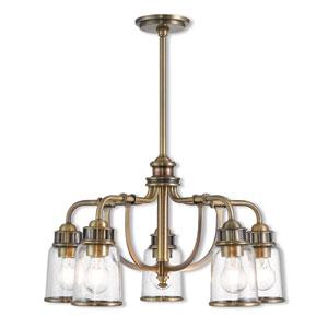 Lawrenceville Antique Brass 24-Inch Five-Light Dinette Chandelier