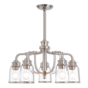 Lawrenceville Brushed Nickel 24-Inch Five-Light Dinette Chandelier
