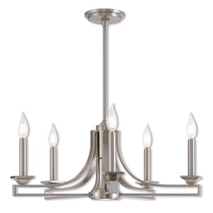 Trumbull Brushed Nickel 24-Inch Six-Light Chandelier