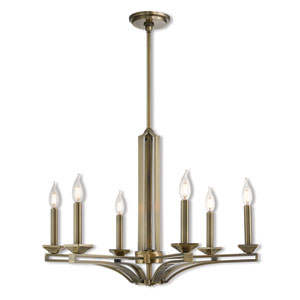 Trumbull Antique Brass 26-Inch Six-Light Chandelier