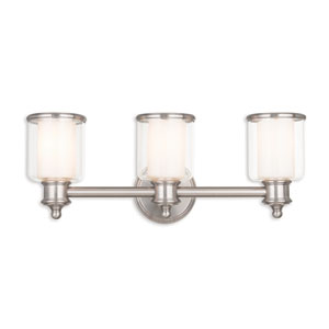 Middlebush Brushed Nickel Three-Light 23.5-Inch Bath Vanity