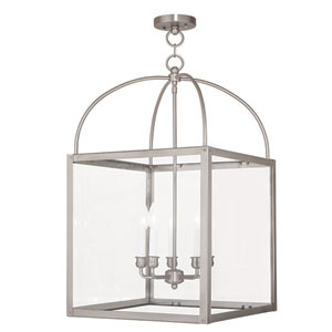 Milford Brushed Nickel 17.5-Inch Five-Light Cubed Lantern Pendant
