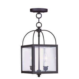 Milford Black Two-Light 15-Inch Convertible Pendant with Clear Glass