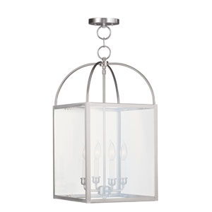 Milford Brushed Nickel Four-Light 13-Inch Pendant with Clear Glass