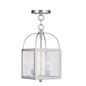 Milford Brushed Nickel Two-Light 15-Inch Convertible Pendant with Seeded Glass