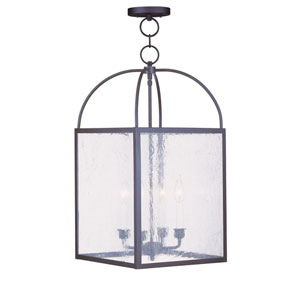 Milford Bronze Four-Light 13-Inch Pendant with Seeded Glass