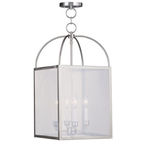 Milford Brushed Nickel Four-Light 13-Inch Pendant with Seeded Glass
