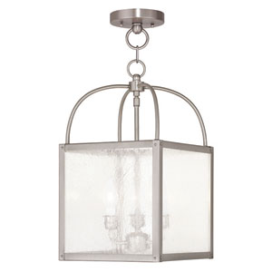 Milford Brushed Nickel 10-Inch Three-Light Convertible Pendant