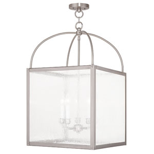Milford Brushed Nickel 17.5-Inch Five-Light Lantern Pendant with Water Glass