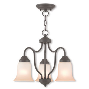 Karysa Bronze 17.5-Inch Three-Light Chandelier with Hand Applied Sunrise Marble Glass