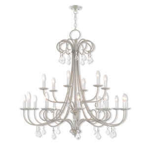 Daphne Brushed Nickel 42-Inch Eighteen-Light Foyer Chandelier