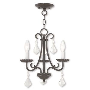 Daphne English Bronze Three-Light Chandelier