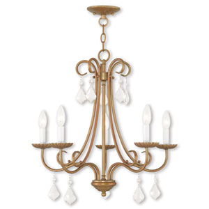 Daphne Antique Gold Leaf Five-Light Chandelier
