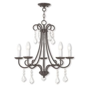 Daphne English Bronze Five-Light Chandelier