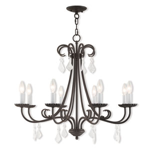 Daphne English Bronze 30-Inch Eight-Light Chandelier