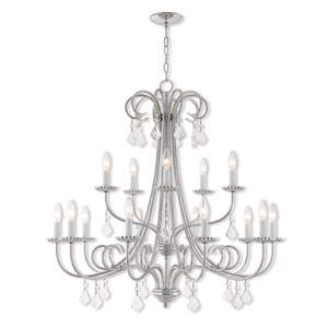 Daphne Polished Chrome 36-Inch Fifteen-Light Foyer Chandelier
