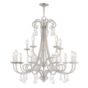 Daphne Brushed Nickel 36-Inch Fifteen-Light Foyer Chandelier