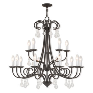 Daphne English Bronze 36-Inch Fifteen-Light Foyer Chandelier